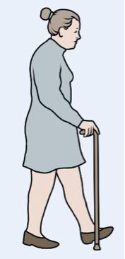 Marcha com dispositivo auxiliar (bengala)